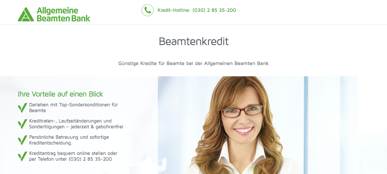 Screenshot Webseite ABK Bank Beamtenkredit