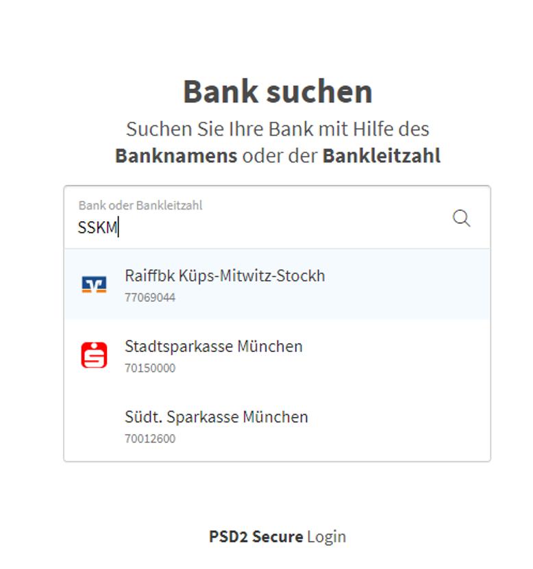 Auswahl der Banken für die Vorbereitung vom digitalen Kontoblick