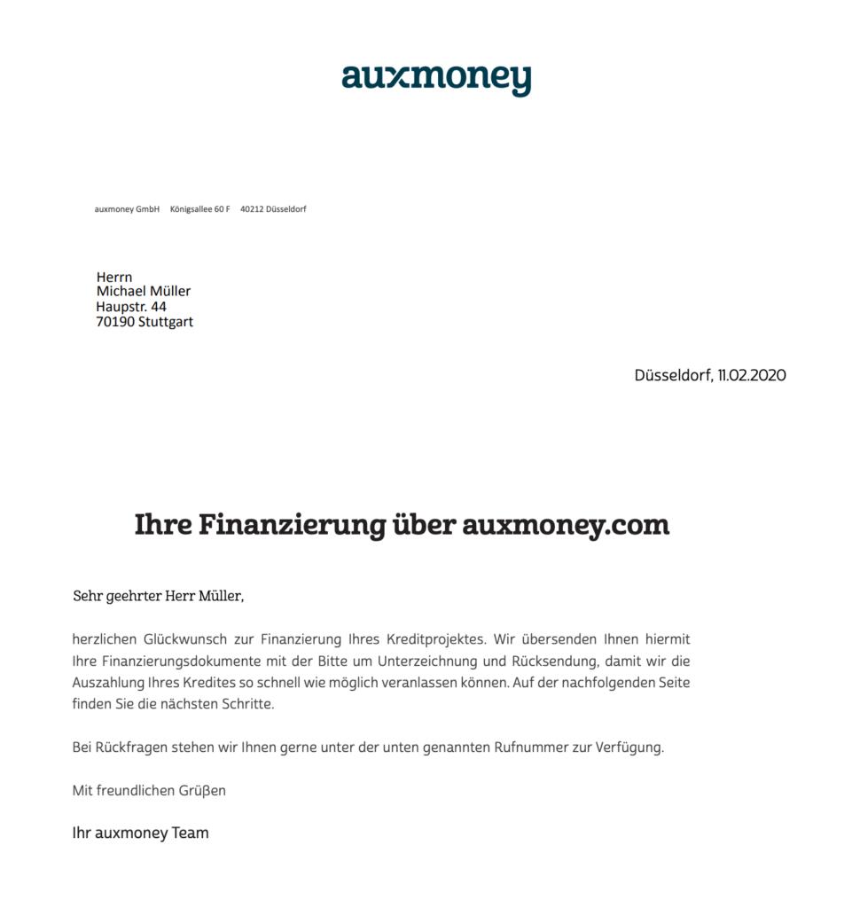 Hier haben wir Ihnen ein Muster Kreditvertrag (am Beispiel der Auxmoney) bereitgestellt. Einfach als PDF öffnen.