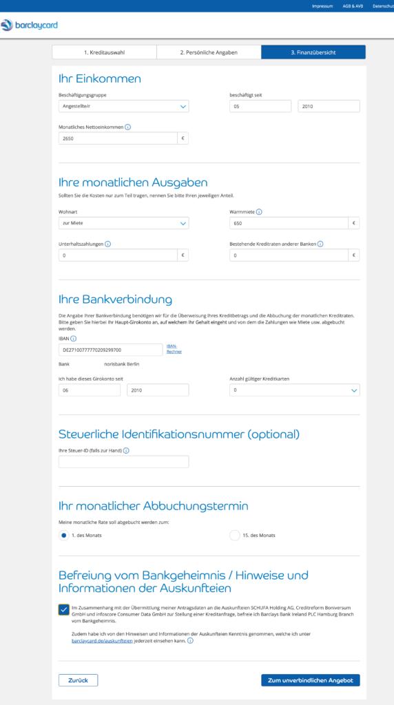 Beispiel aus dem Kreditantrag auf Baclaycard.de