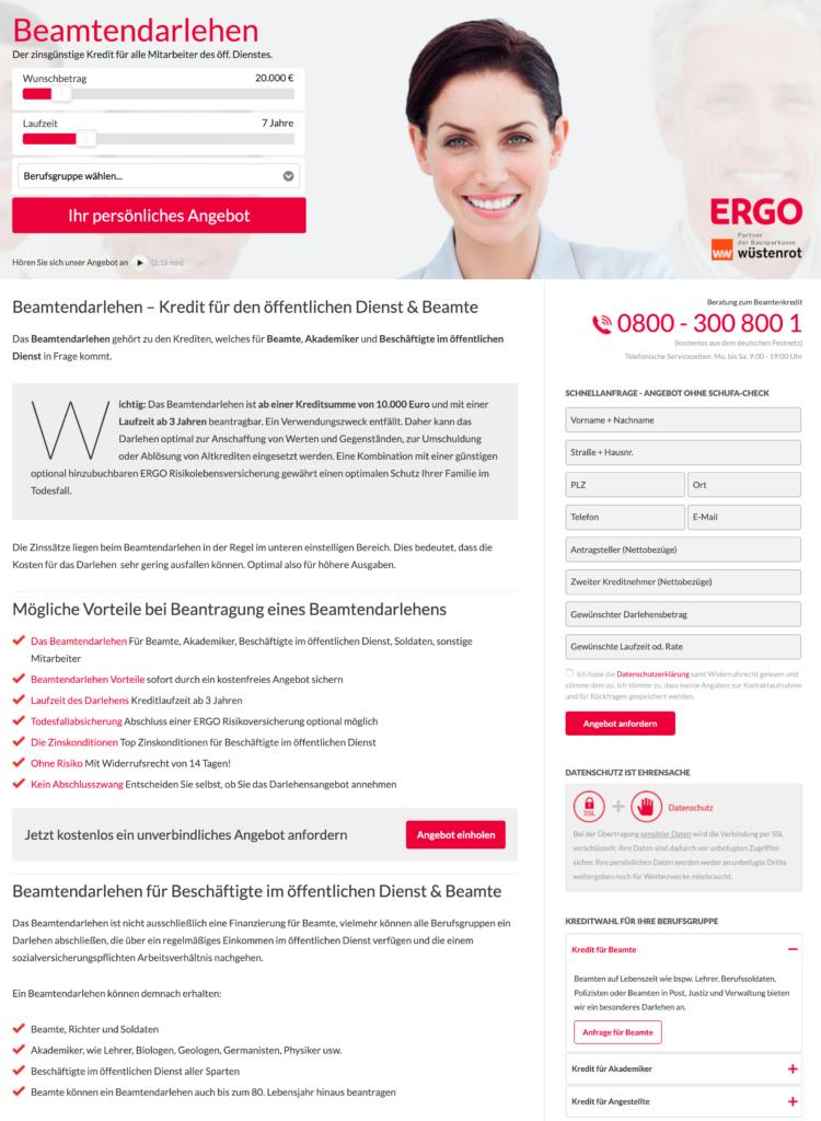 Beamtendarlehen der Ergo Versicherung Screenshot Webseite