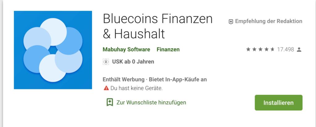 Screenshot Bluecoins Finanzen & Haushaltsbuch