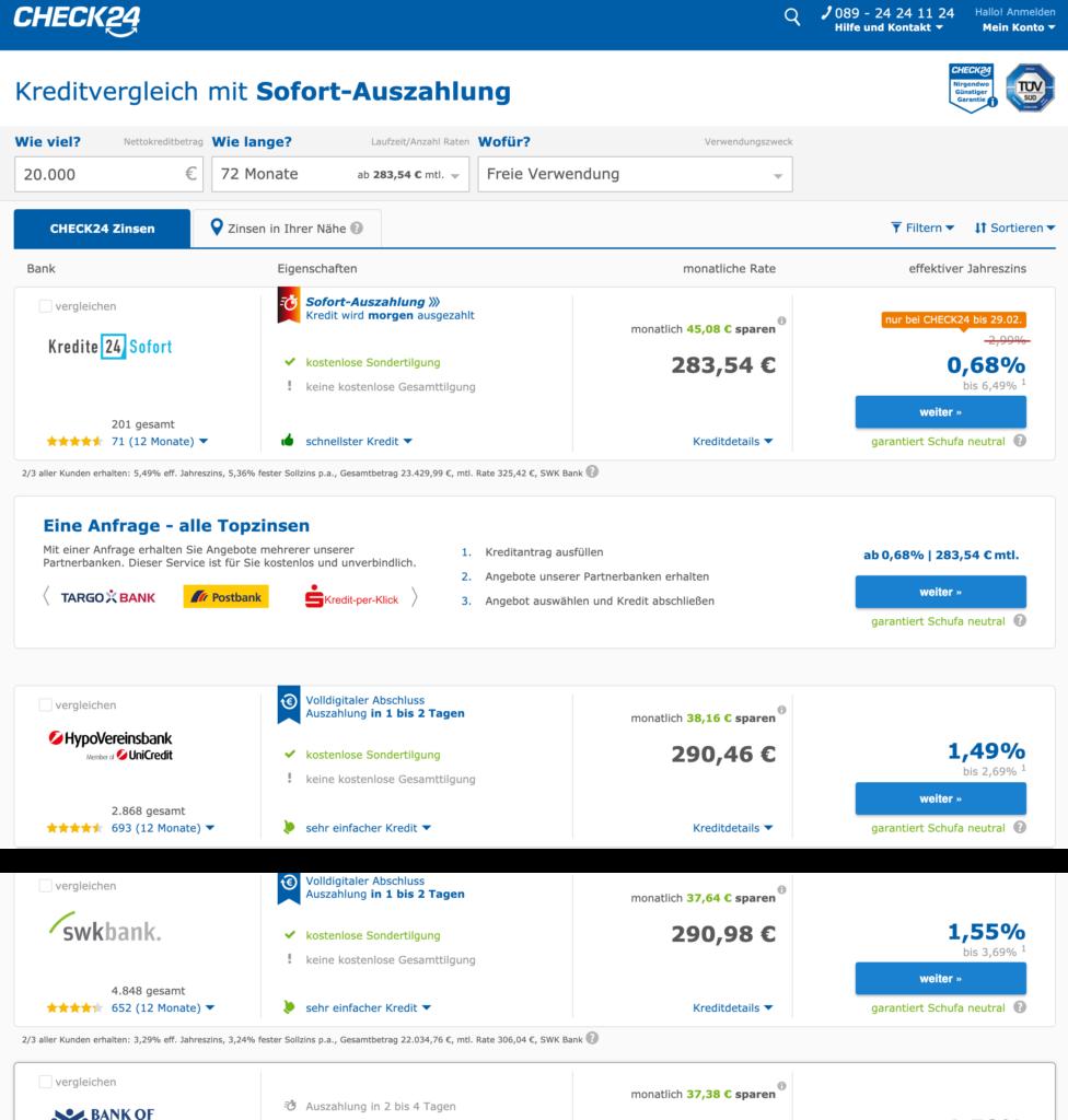 Die Übersicht über die verschiedenen Kreditangebote im Check24 Kreditvergleich