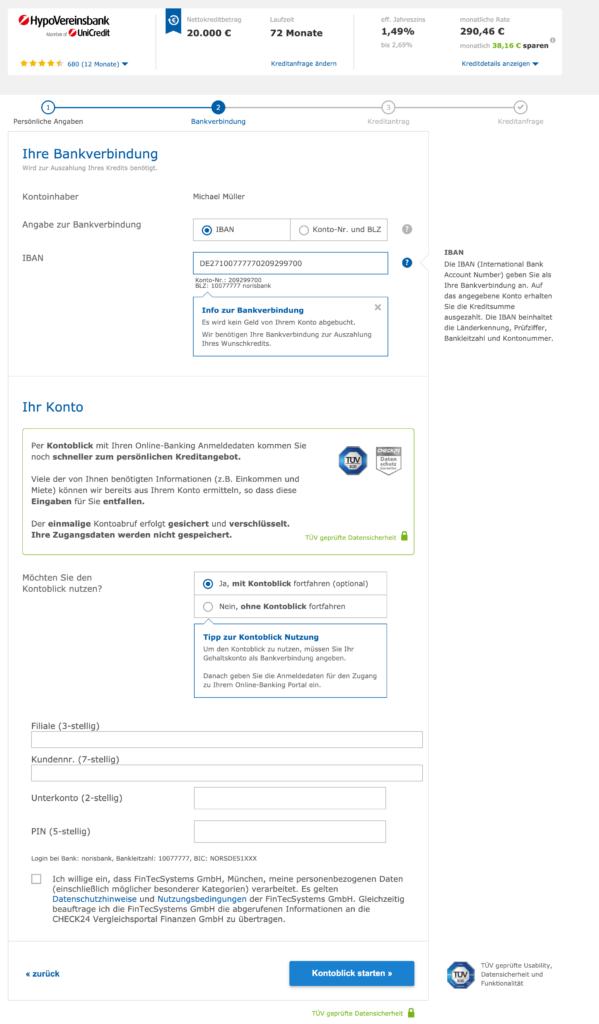 Eingabe der Bankverbindung für den digitalen Kontoblick