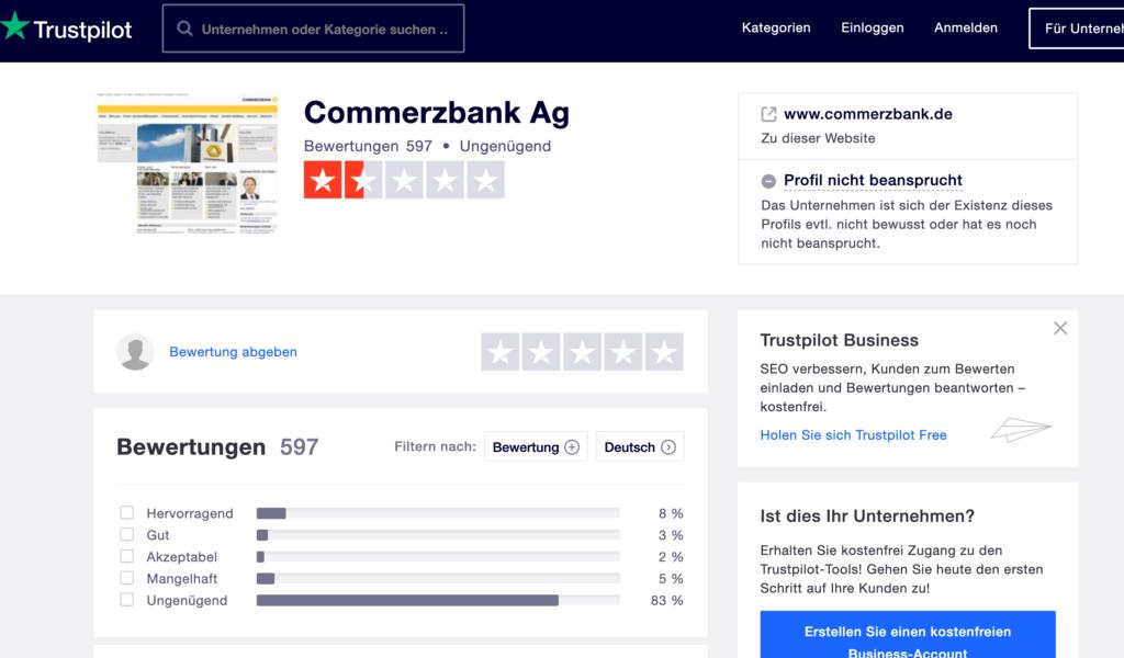 Bewertungen und Erfahrungen zur Commerzbank auf Trustpilot