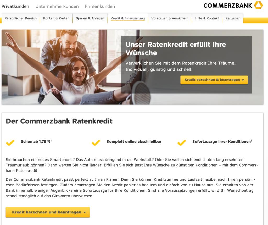 Screenshot der Commerzbank Webseite