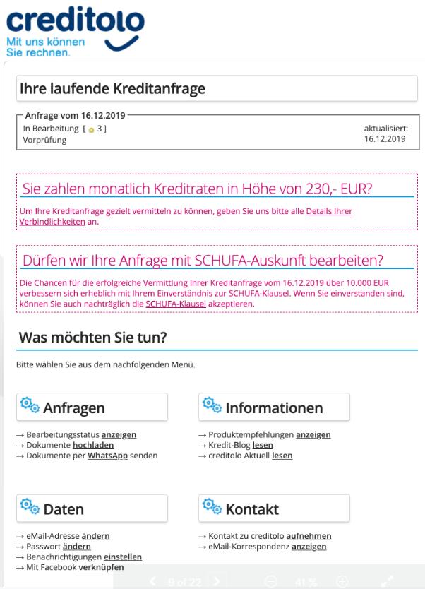 Creditolo Kredit ohne Schufa Kreditantrag Screenshot Bild 12