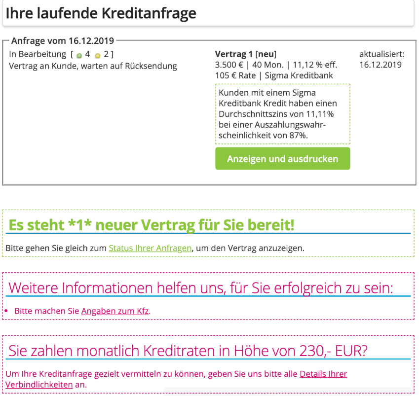 Creditolo Kredit ohne Schufa Kreditantrag Screenshot Bild 13