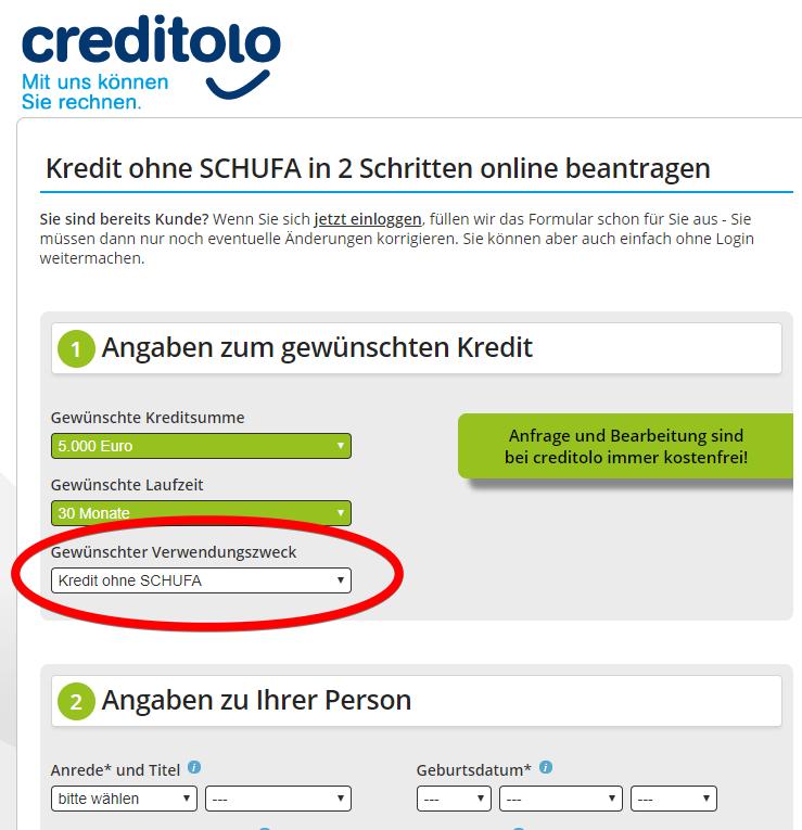 Creditolo Kredit ohne Schufa Kreditantrag Screenshot Bild 3
