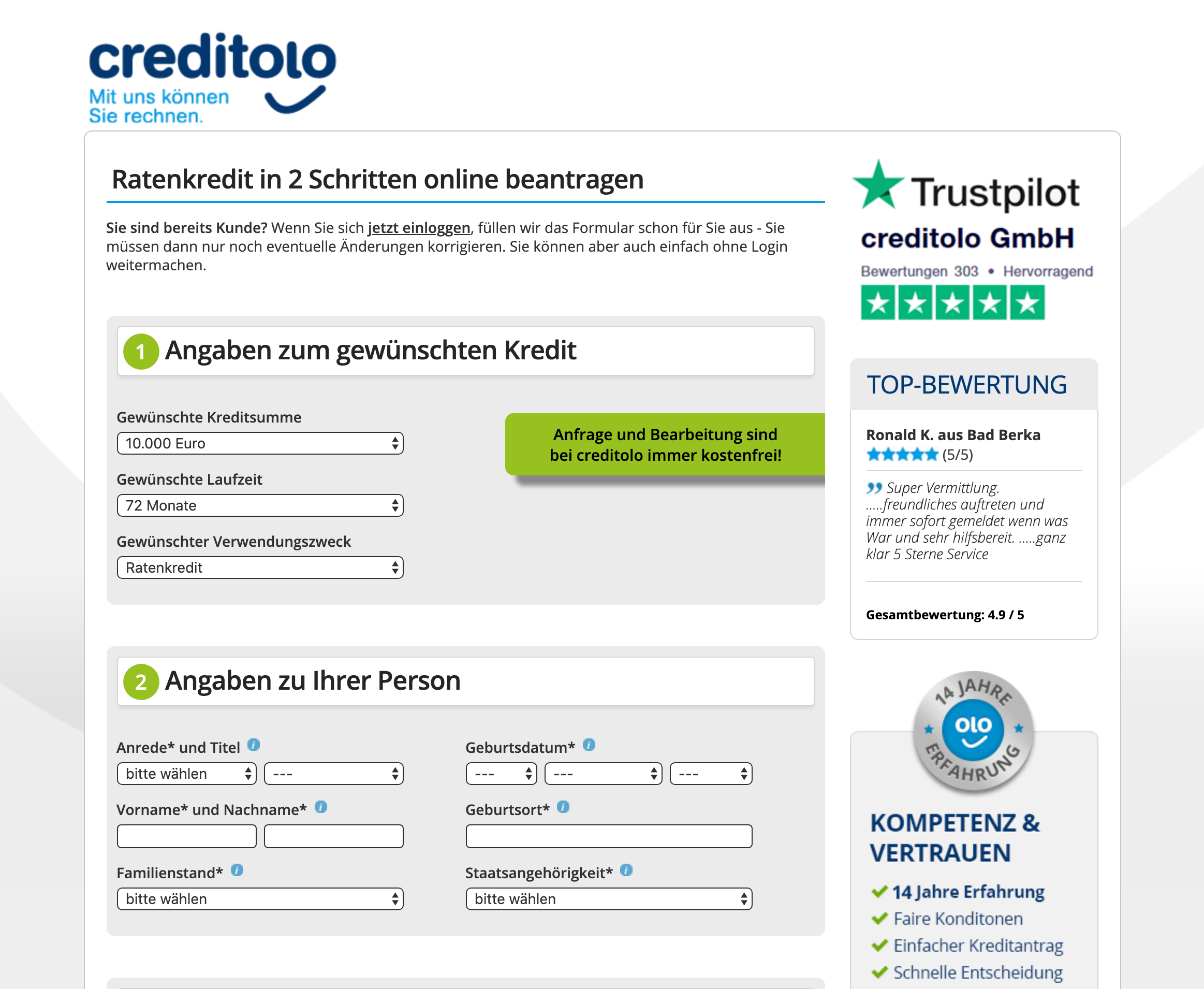 Screenshot der Kreditanfrage auf Creditolo