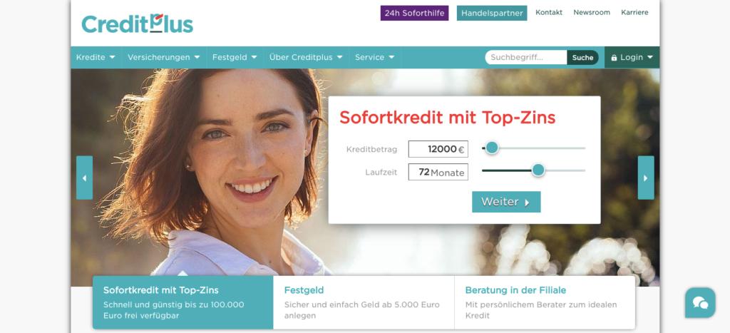Creditplus Bank Screenshot Webseite
