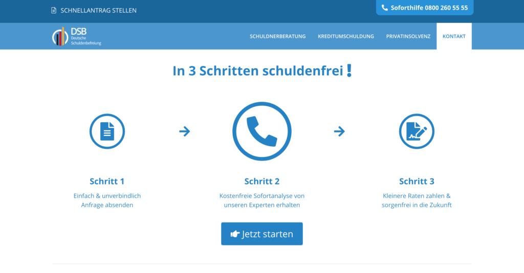 Screenshot Webseite der Deutschen Schuldenbefreiung