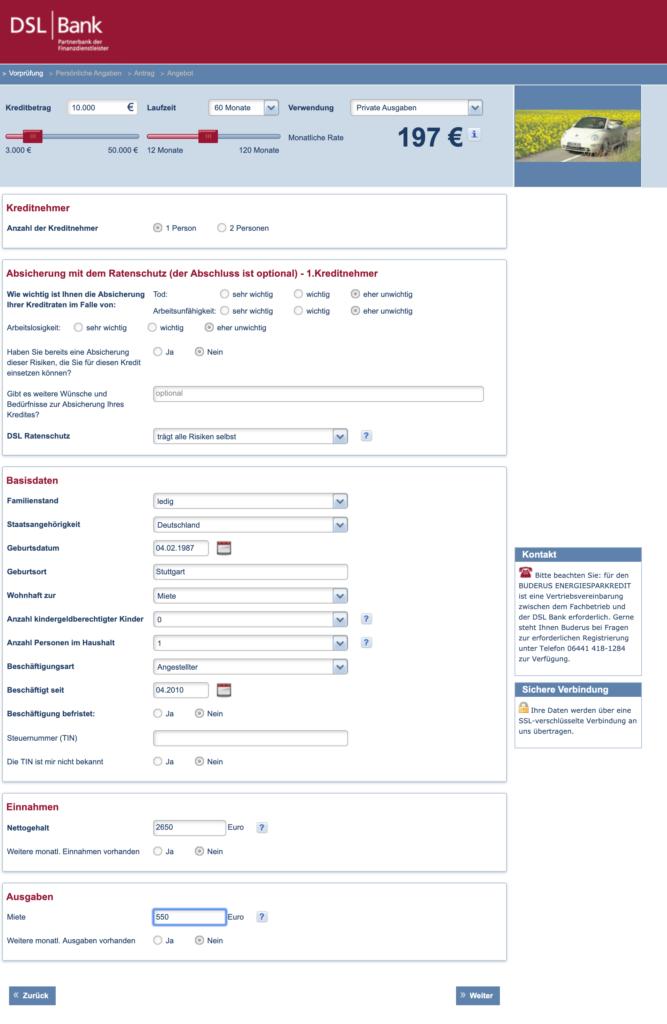 Eingabe der persönlichen Daten für den DSL Bank Kredit