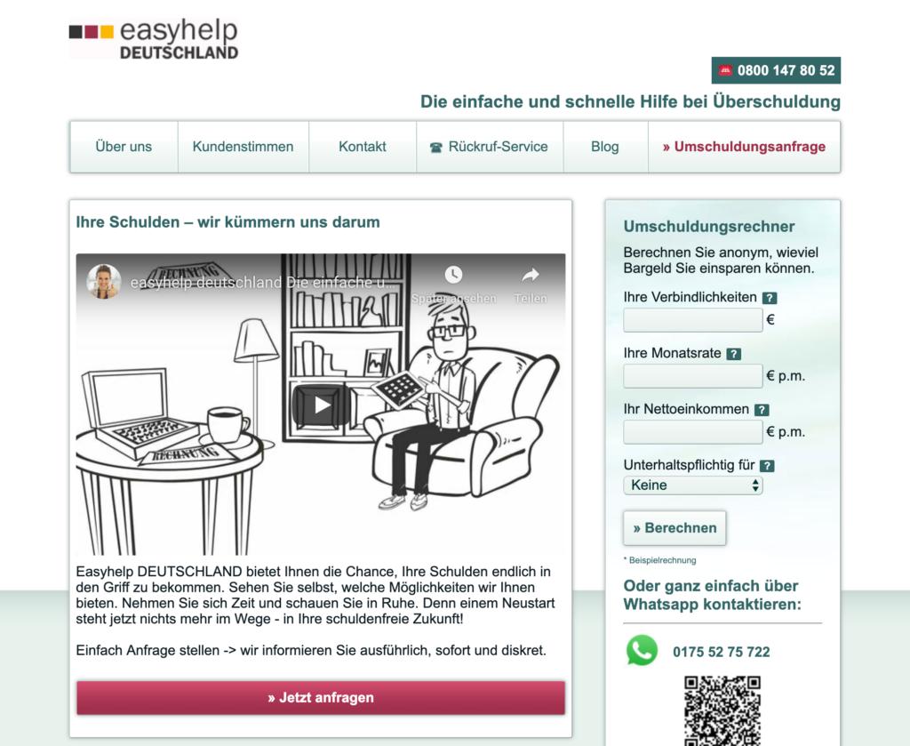 Screenshot der Webseite von Easyhelp Deutschland