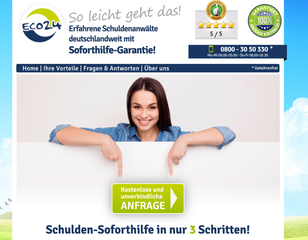Screenshot der Webseite Eco24