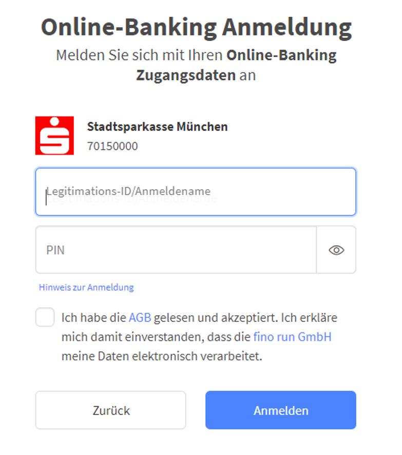 die Eingabe der Zugangsdaten zum eigenen Onlinebanking ist der nächste Schritt