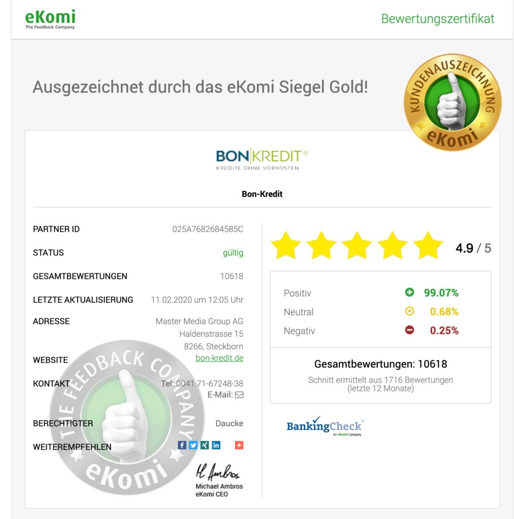 eKomi: 4,9 von fünf Sternen, 99,07 Prozent positive Bewertung