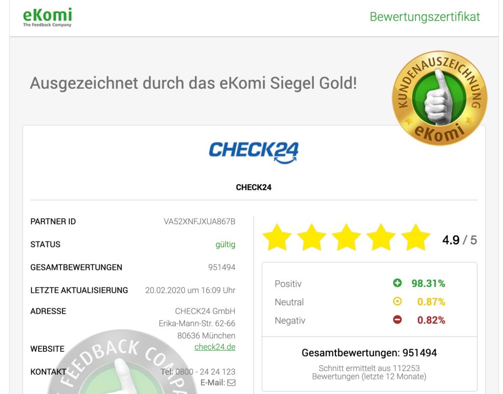 Ekomi Bewertungen von Check24 mit 4.9 von 5 Punkten