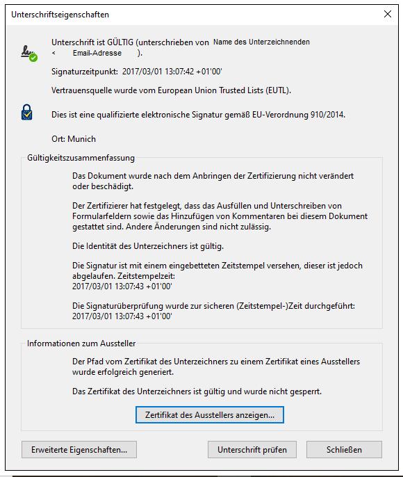 Zertifikat einer elektronischen Unterschrift