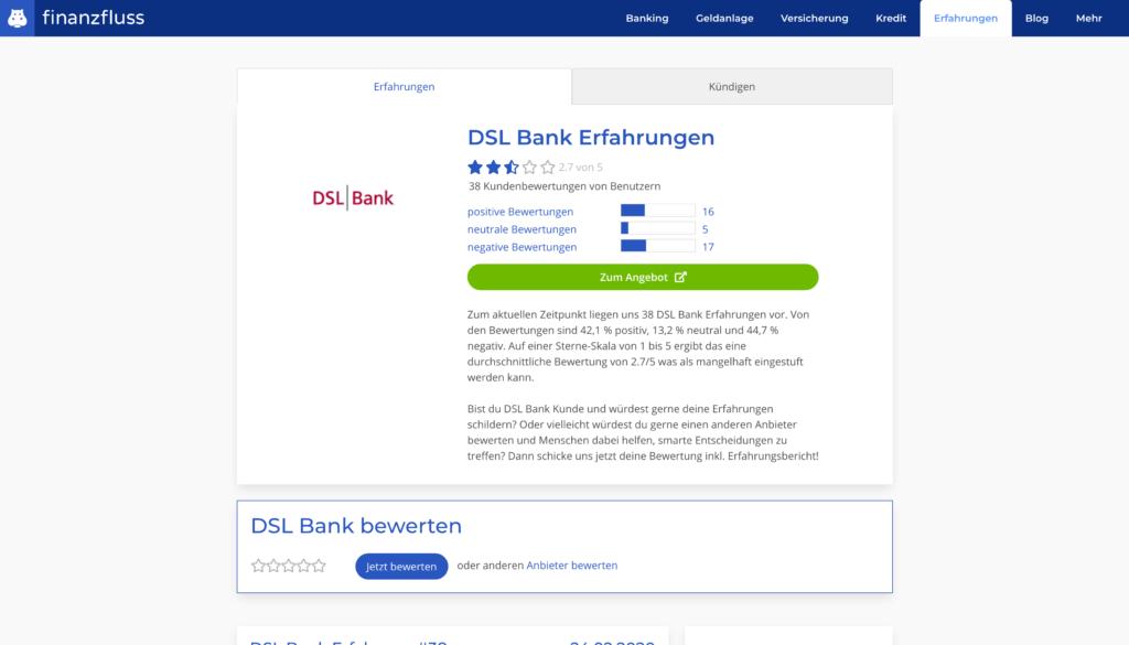 Erfahrungen zur DSL bank auf Finanzfluss.de