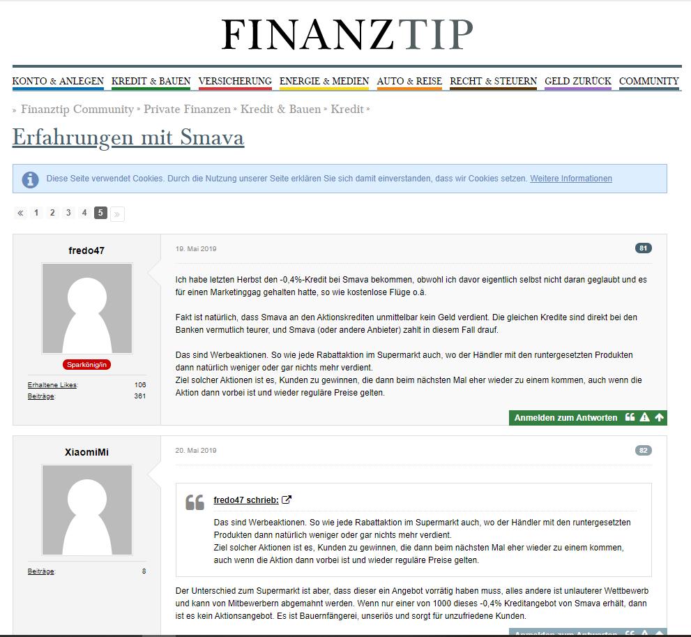 Diskussionen über Smava im Finanztip Forum
