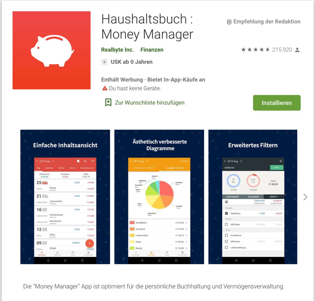 Screenshot Haushaltsbuch Money Manager