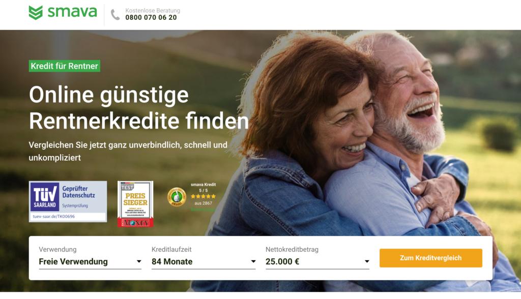 Kredit für Rentner über Kreditvermittler Smava