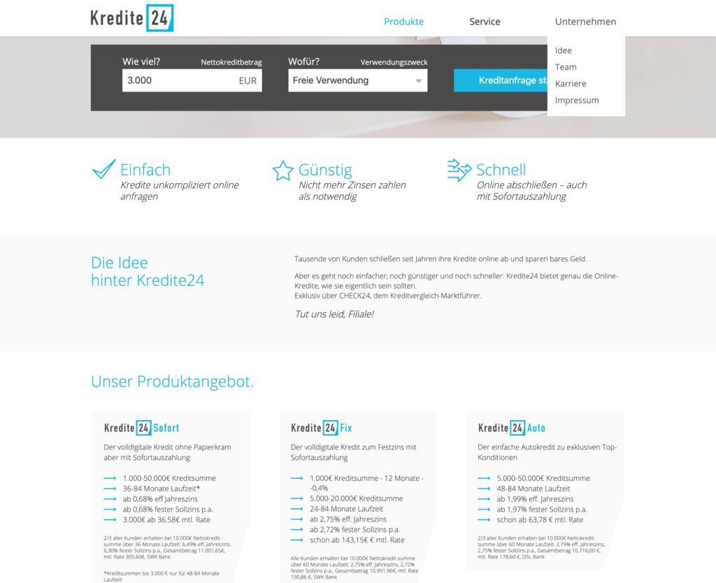 Screenshot der Webseite Kredite24.de mit dem Kredit24 Fix.