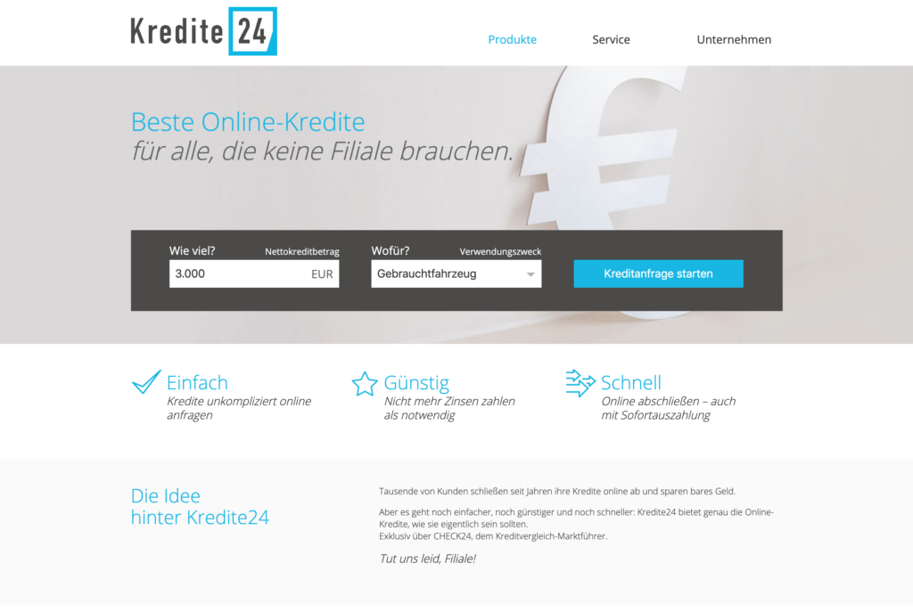 Kredite24.de Screenshot Webseite