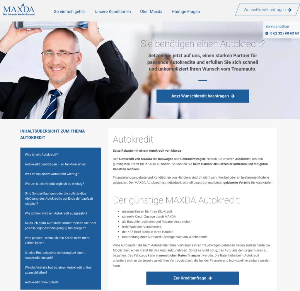 Maxda Autokredit Screenshot Webseite