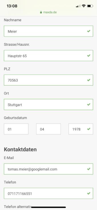 Maxda Eingabe Name und Adresse auf Smartphone