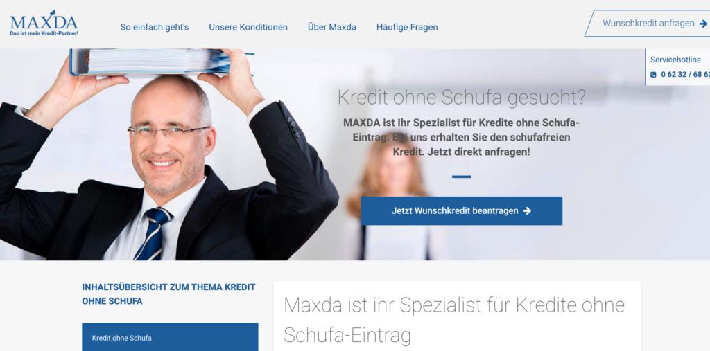 Maxda Kredit ohne Schufa Screenshot Webseite