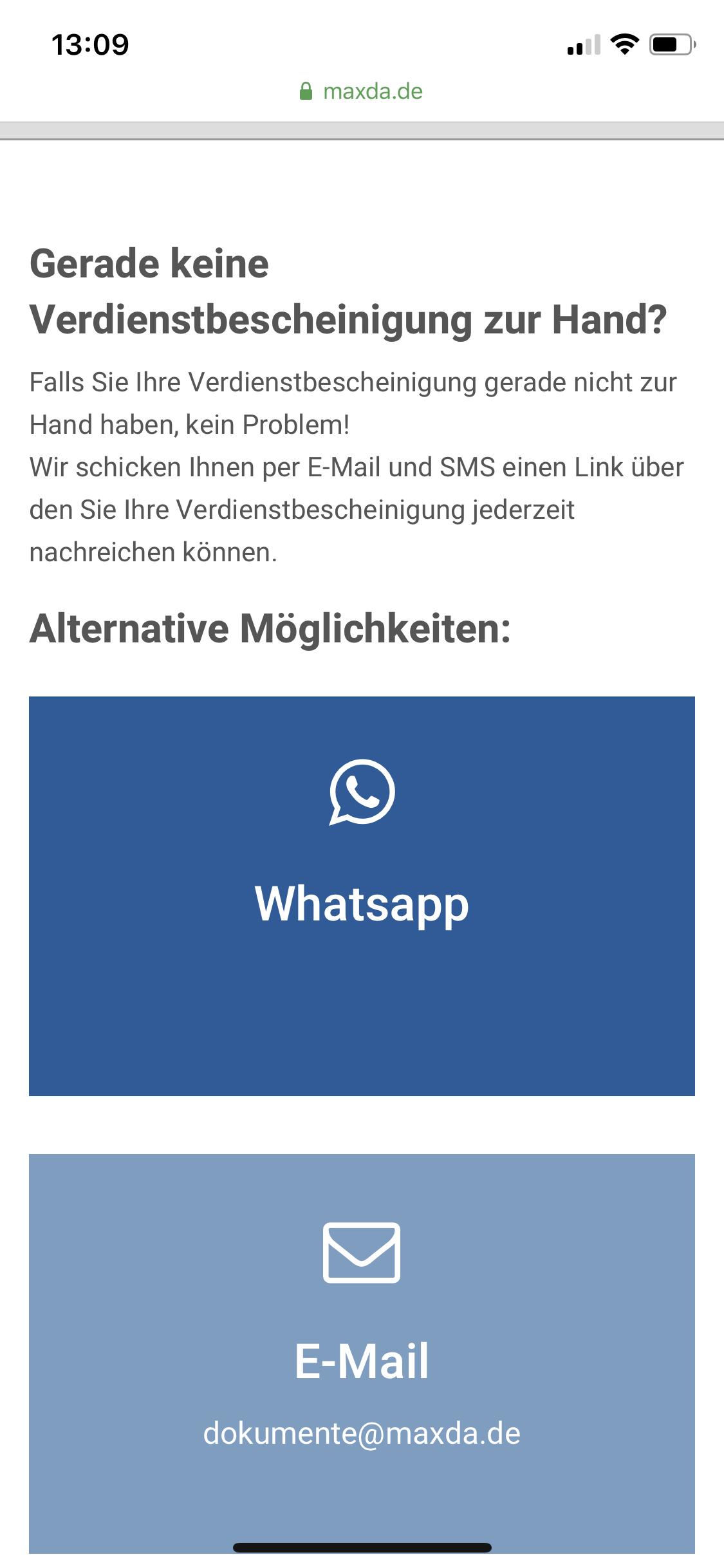 Maxda Alternative Möglichkeiten für Upload auf Smartphone