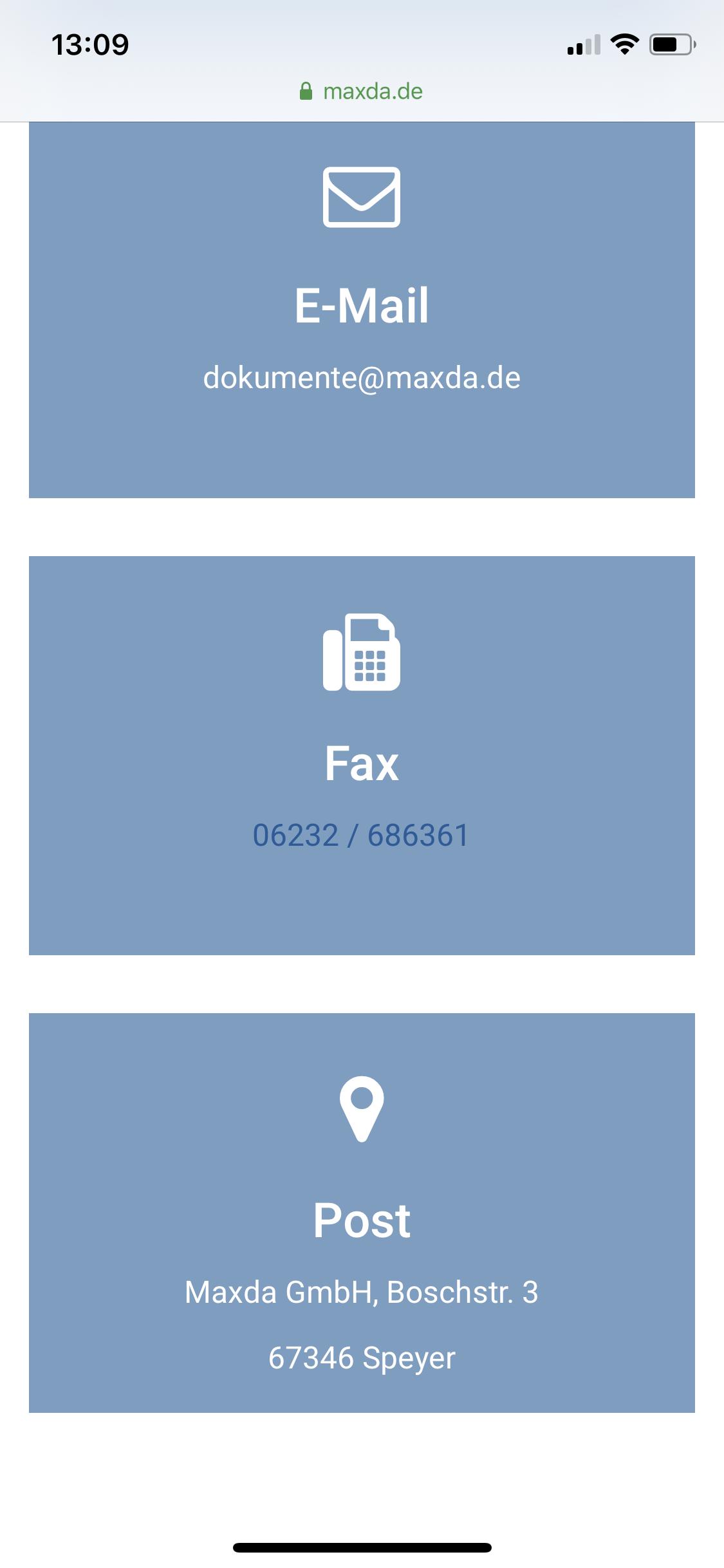 Maxda Fax und Postversand auf Smartphone