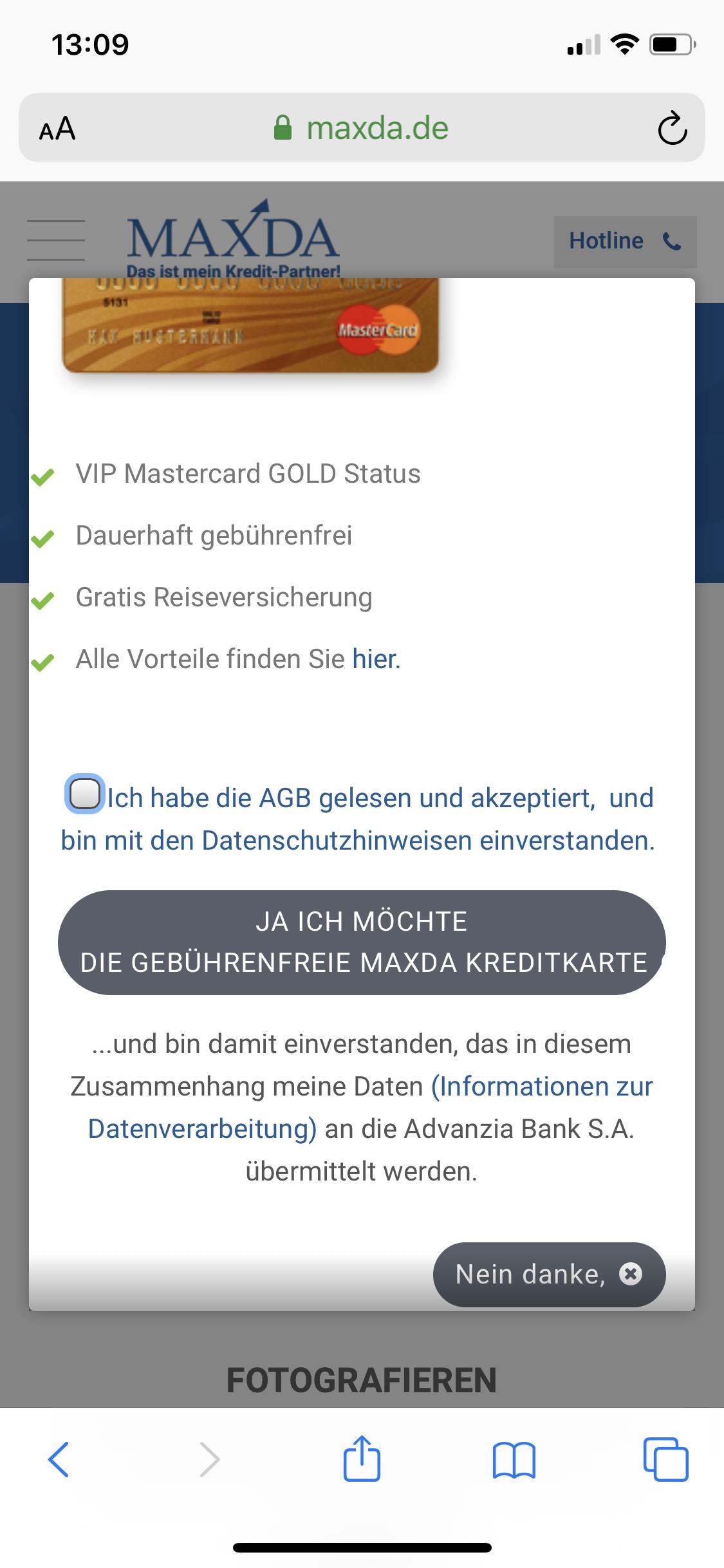 Maxda Angebot für geführenfreie Kreditkarte auf Smartphone