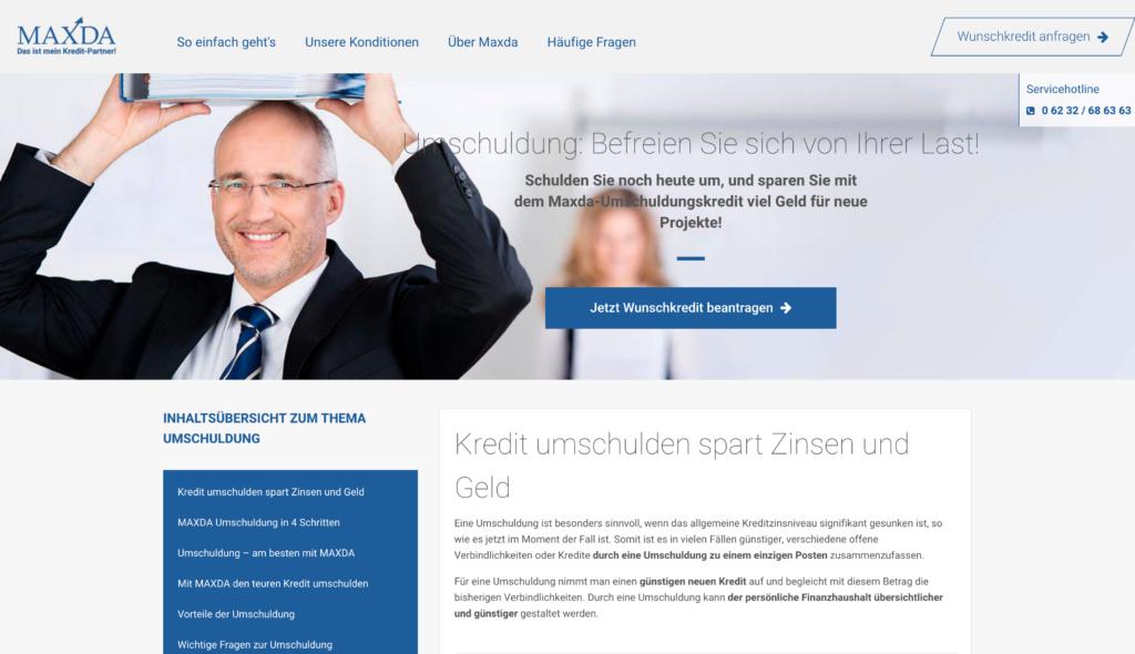 Maxda Umschuldung Screenshot Webseite