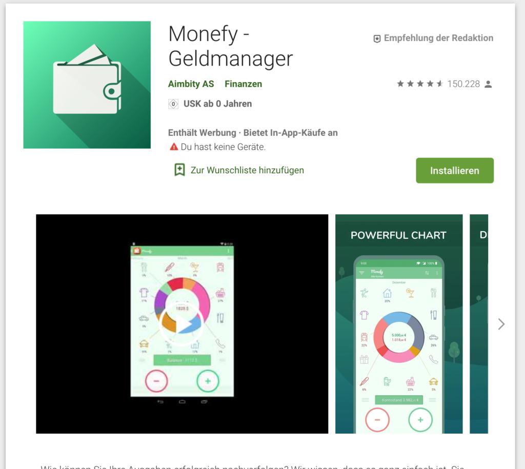 Screenshot Haushaltsbuch Monefy Geldmanager