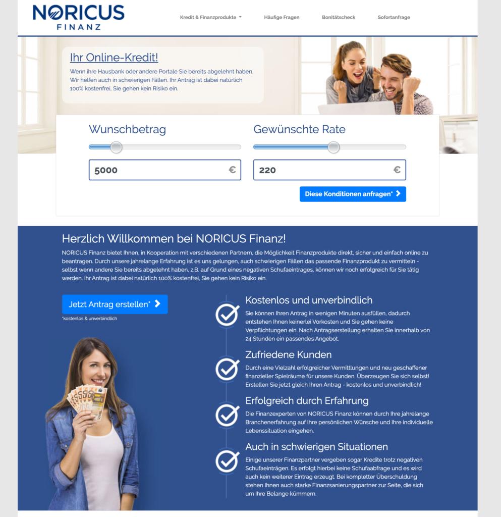 Start der Kreditanfrage auf www.noricus-finanz.de