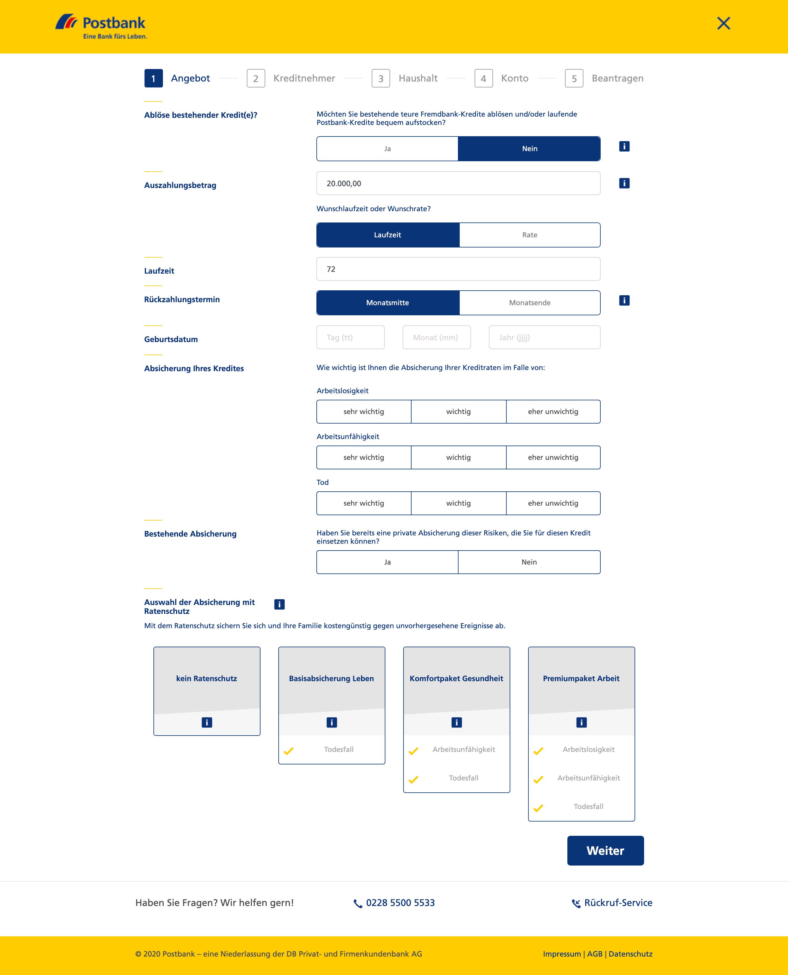Start der Kreditanfrage auf der Webseite der Postbank