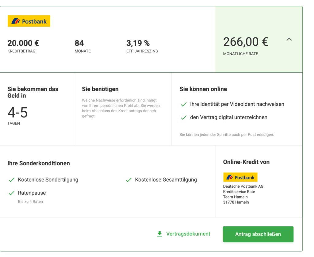 Die Ratenpause am Beispiel der Postbank. Screenshot aus dem Kreditantrag auf Smava.