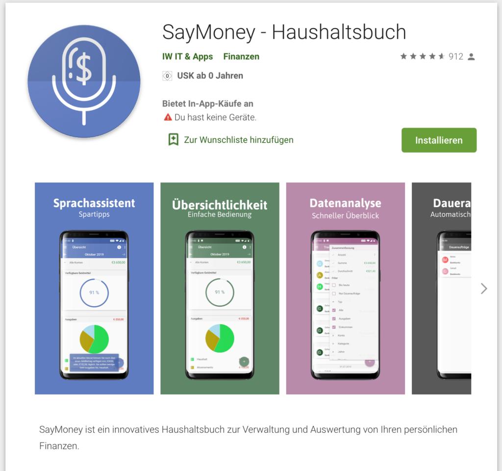 Screenshot SayMoney Haushaltsbuch