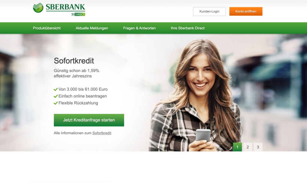 Screenshot der Sberbank Direct Webseite
