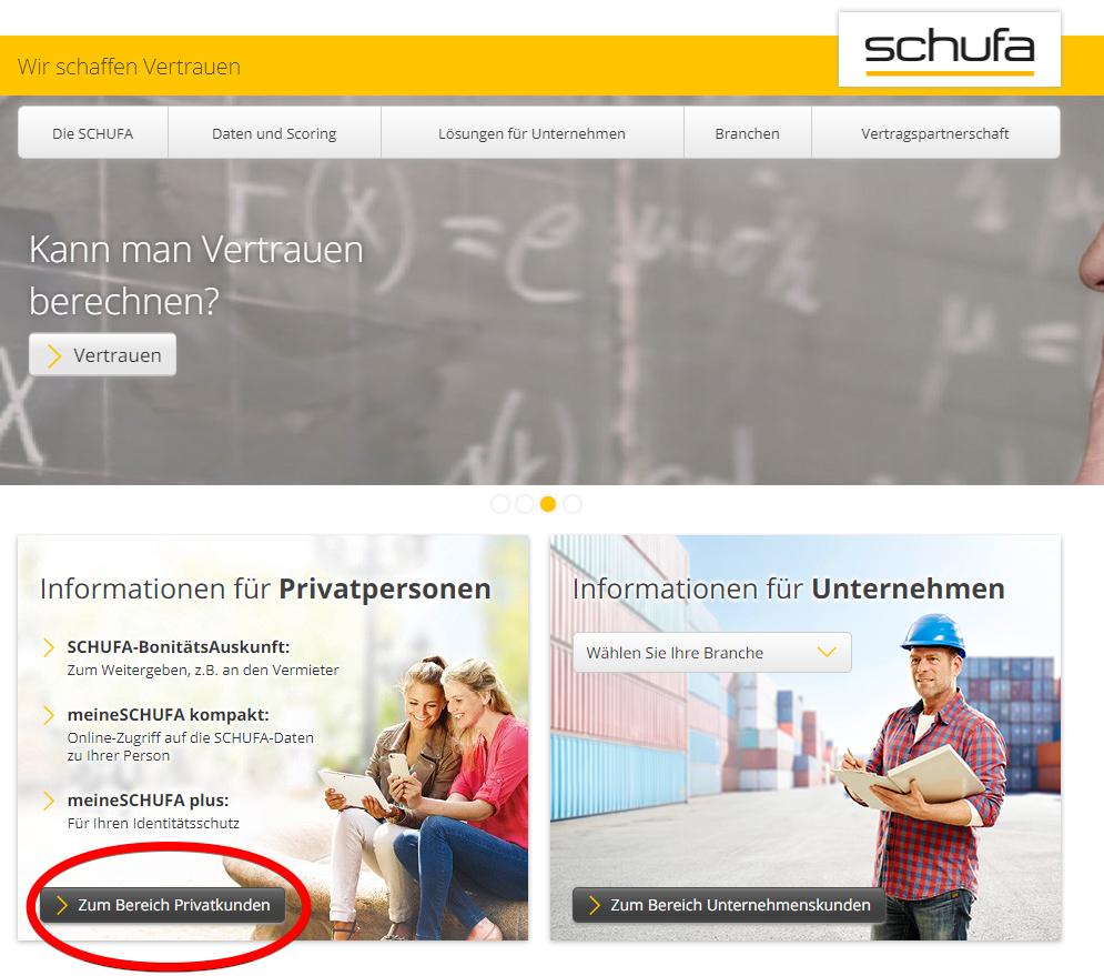 Homepage der Schufa mit Hinweis zum Privatkundenbereich