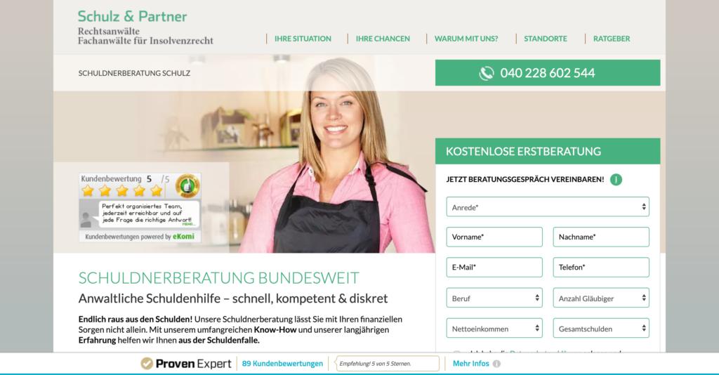 Screenshot der Webseite der Schuldnerberatung Schulz