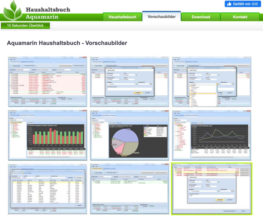 Screenshot Haushaltsbuch Aquamarin