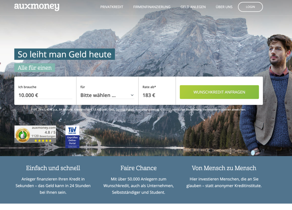 Screenshot Auxmoney Kredit Webseite