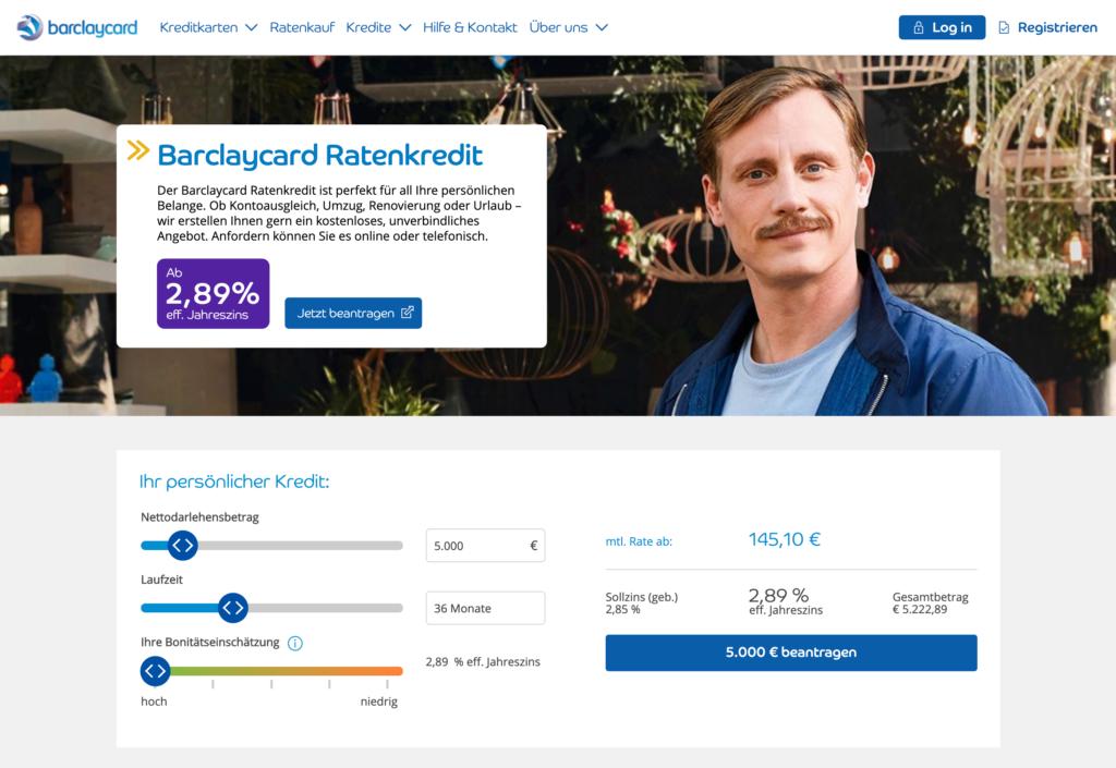 Screenshot der Barclaycard Kredit Webseite