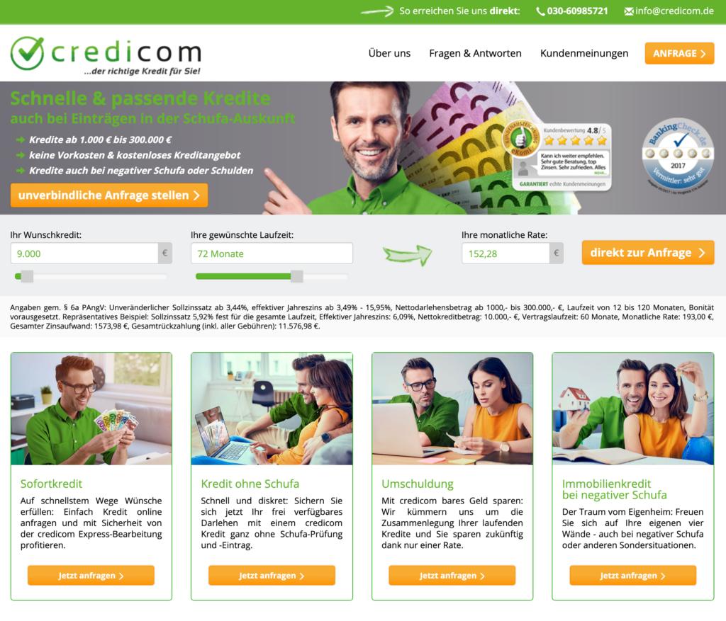 Screenshot Credicom Webseite