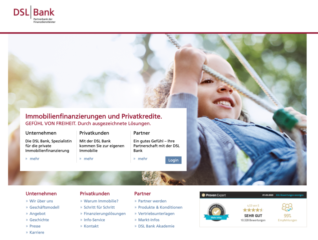 Screenshot DSL Bank Webseite