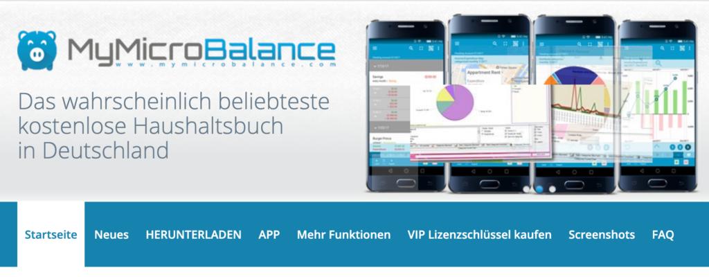 Screenshot Haushaltsbuch MyMicroBalance